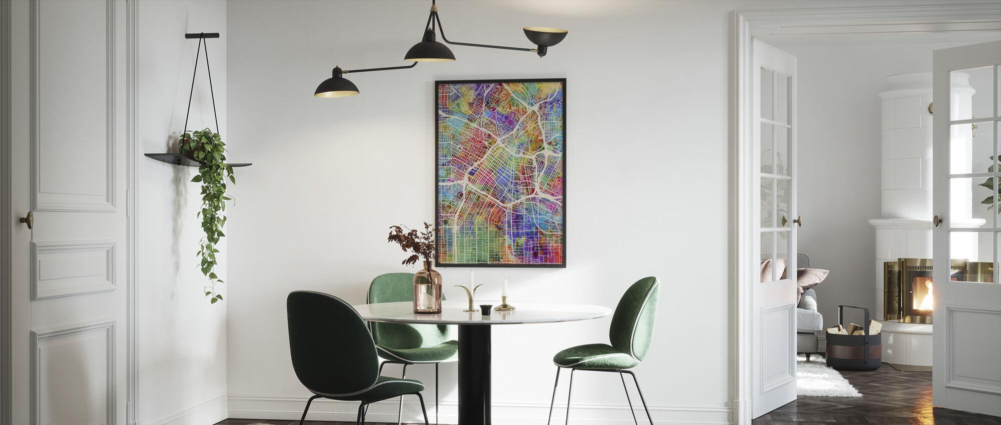 Los Angeles Street Map Multicolour - Framed print - Kitchen