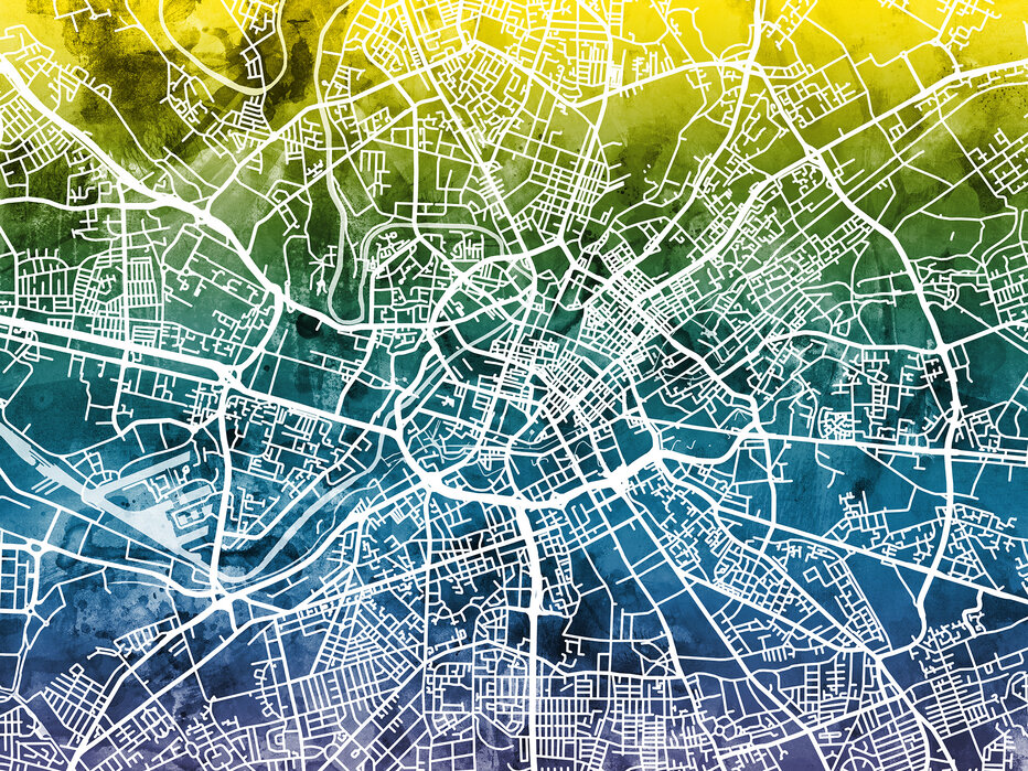 Manchester Street Map Bluegreen Canvastaulu Kaikkiin Tiloihin