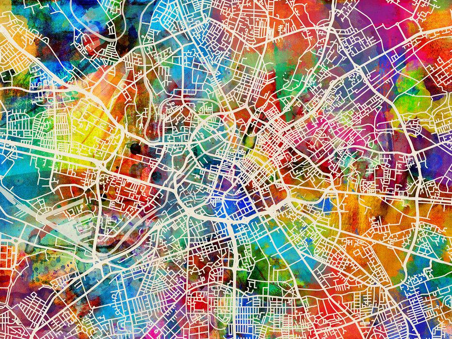 Manchester Street Map Multicolour Trendikas Juliste Photowall