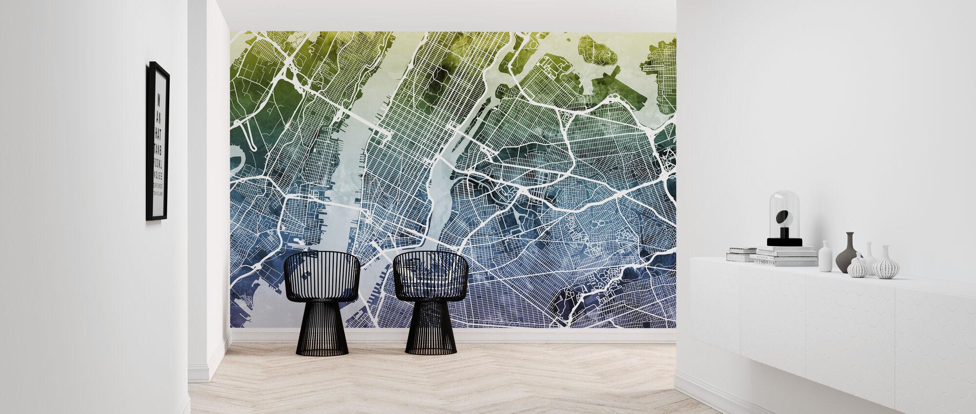 New York Street Map Bluegreen - Wallpaper - Hallway
