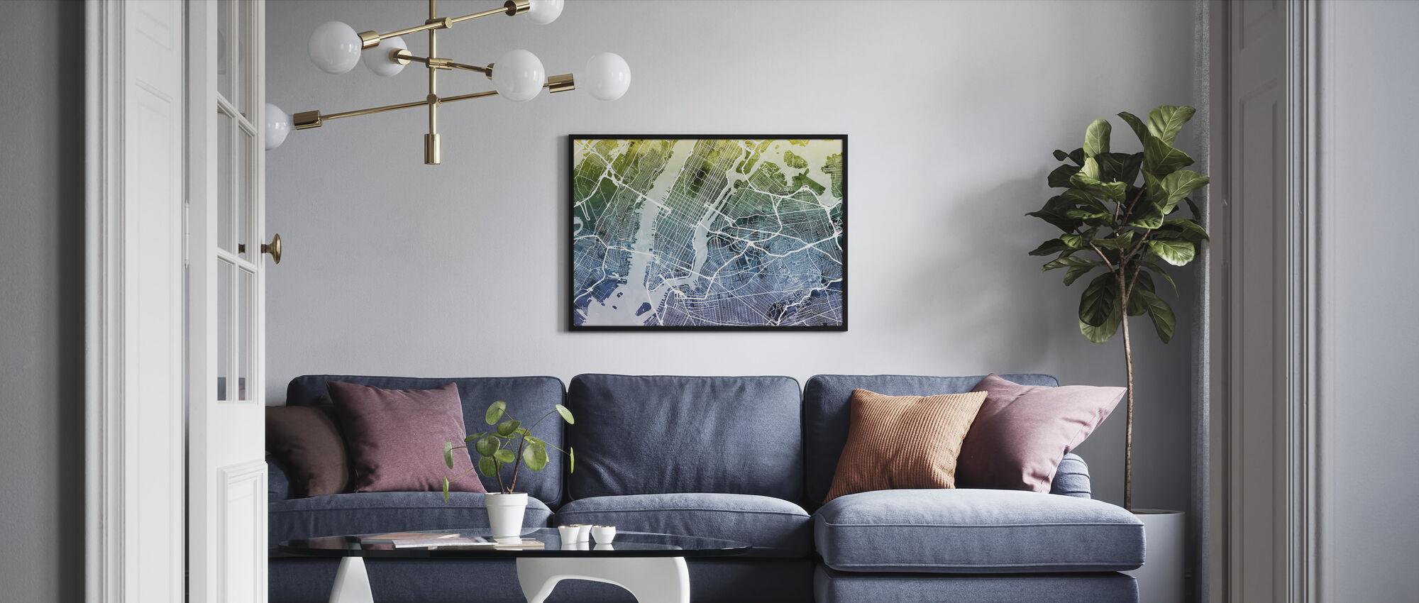New York Street Map Bluegreen - Framed print - Living Room