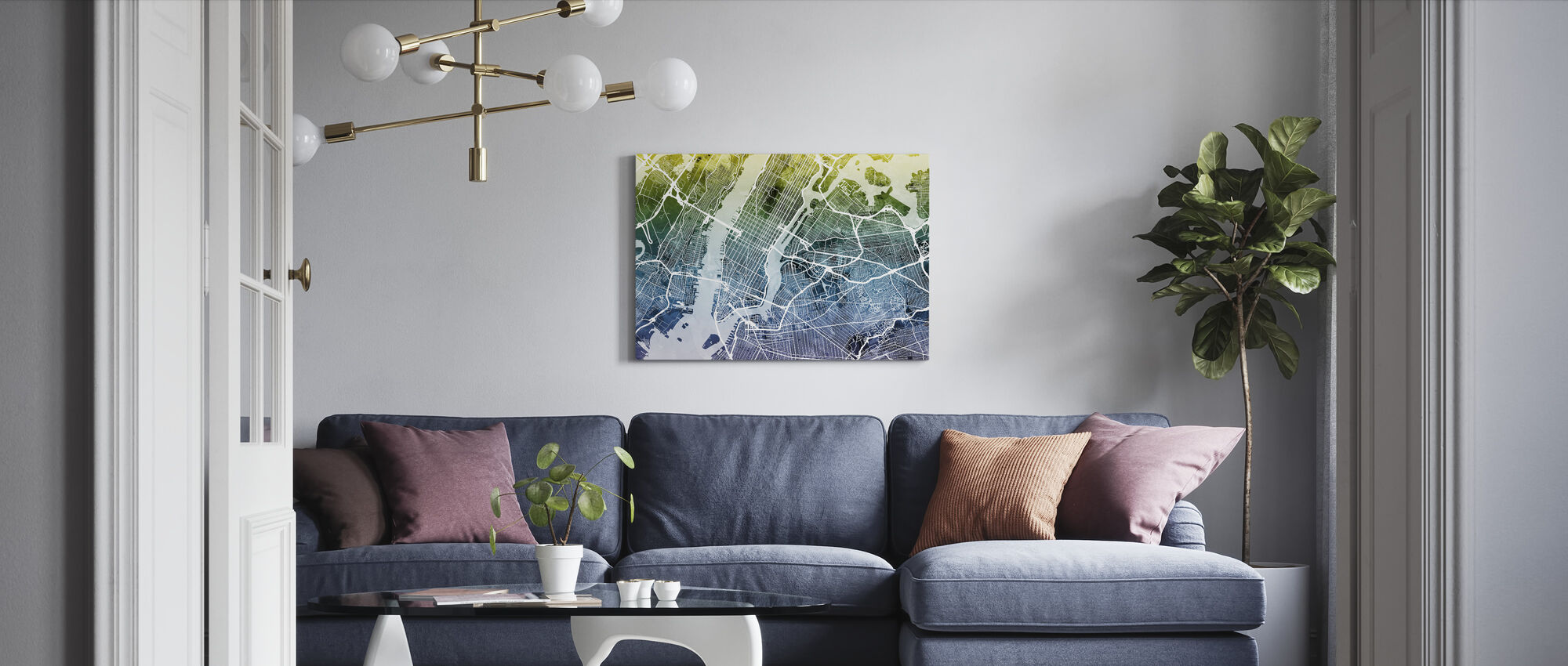 New York Street Map Bluegreen - Lerretsbilde - Stue