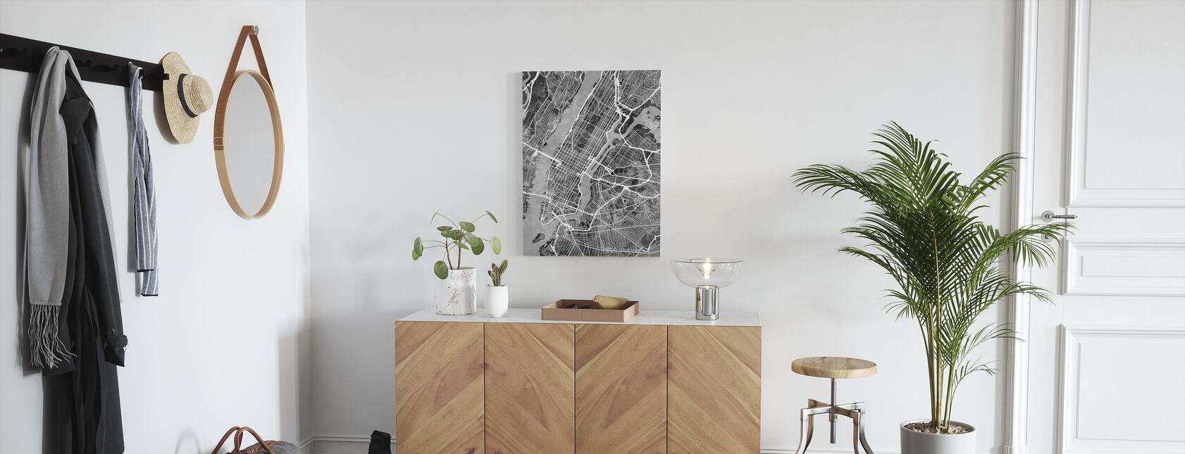 New York Street Kaart Z/W - Canvas print - Gang