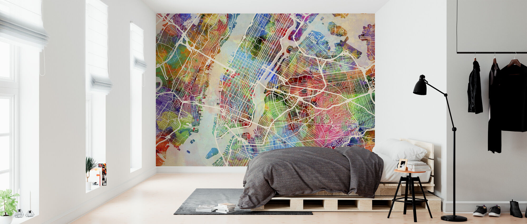 New York Street Map Multicolour - Wallpaper - Bedroom