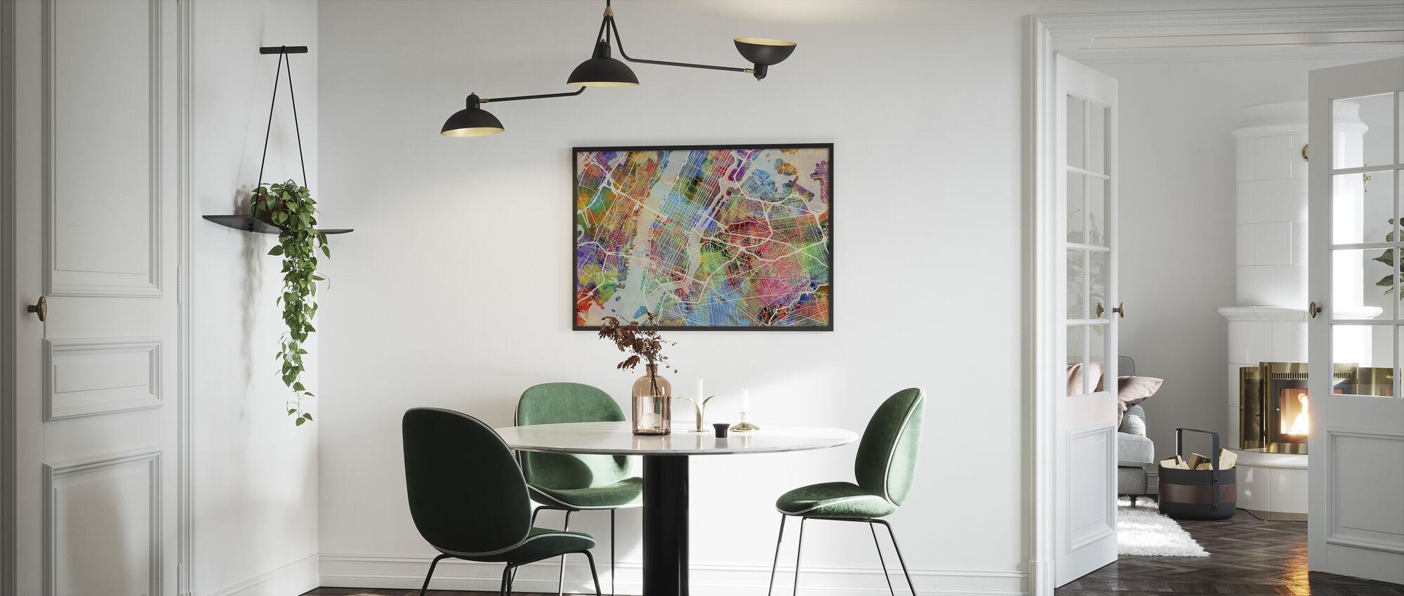 New York Street Map Flerfarget - Innrammet bilde - Kjøkken