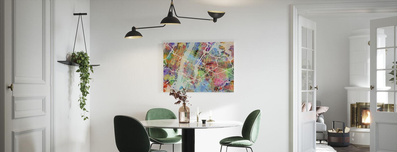 New York Street Map Flerfarget - Lerretsbilde - Kjøkken