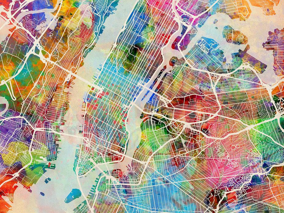 New York Street Map Multicolour Idyllic Canvas Print Photowall