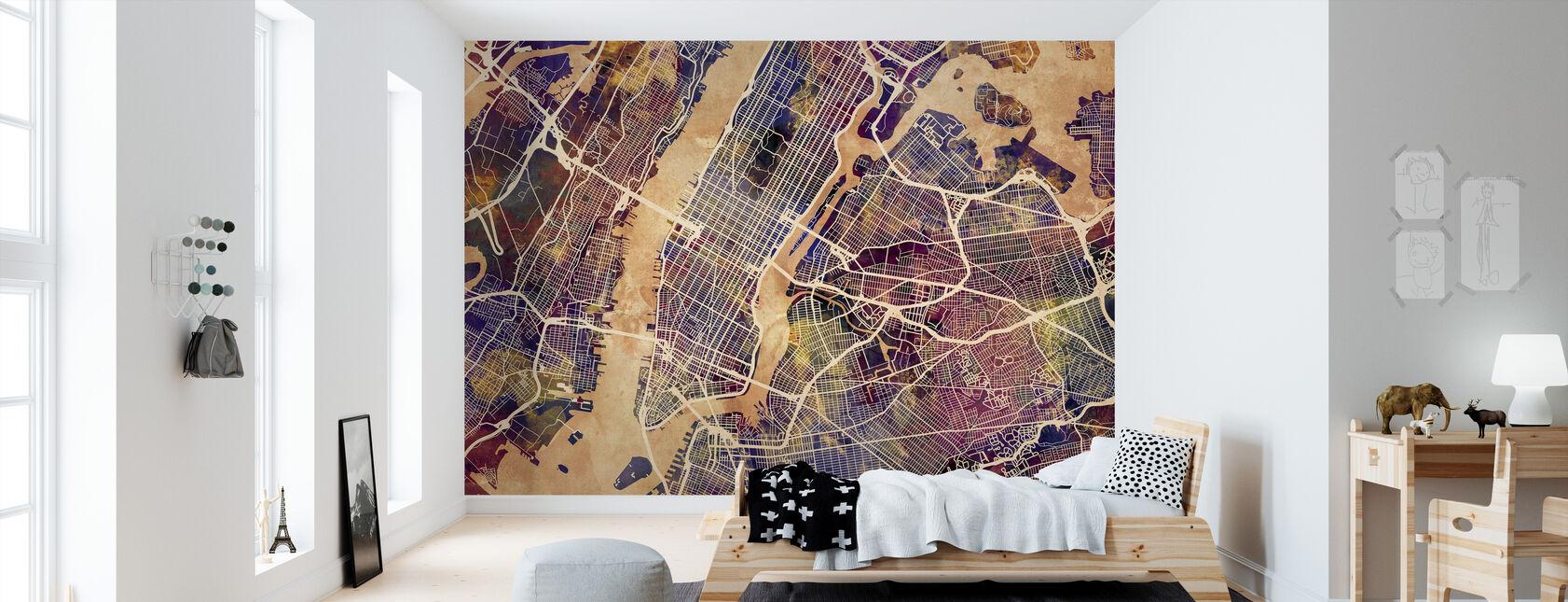 New York Street Map Lilla - Tapet - Barnerom