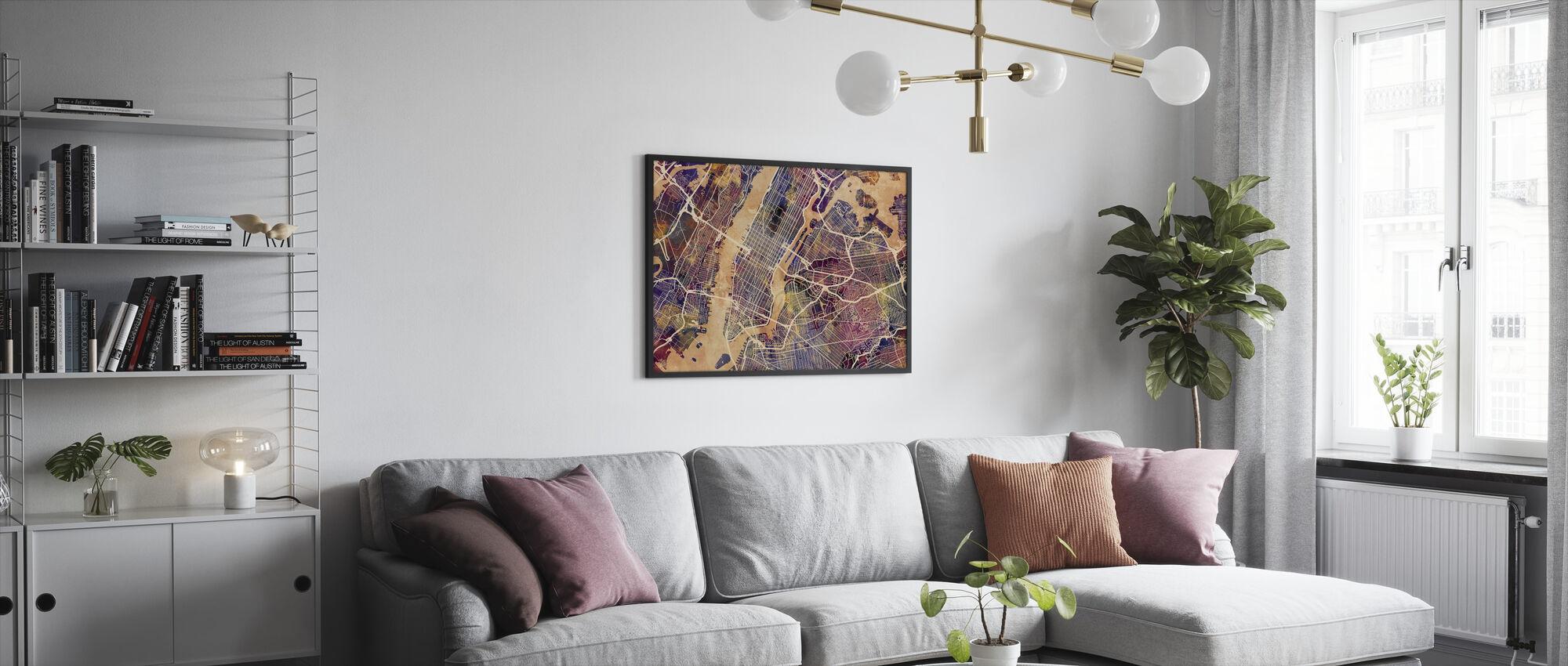 New York Street Map Purple - Framed print - Living Room
