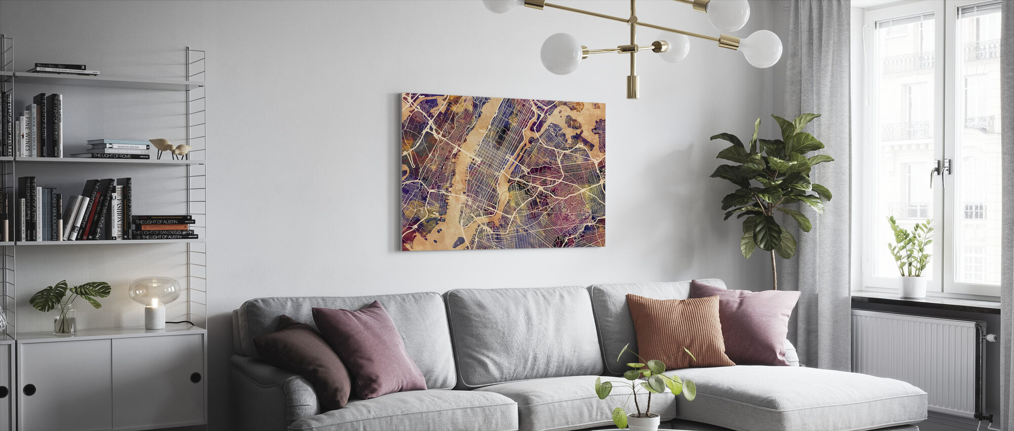 New York Street Map Purple - Canvas print - Living Room