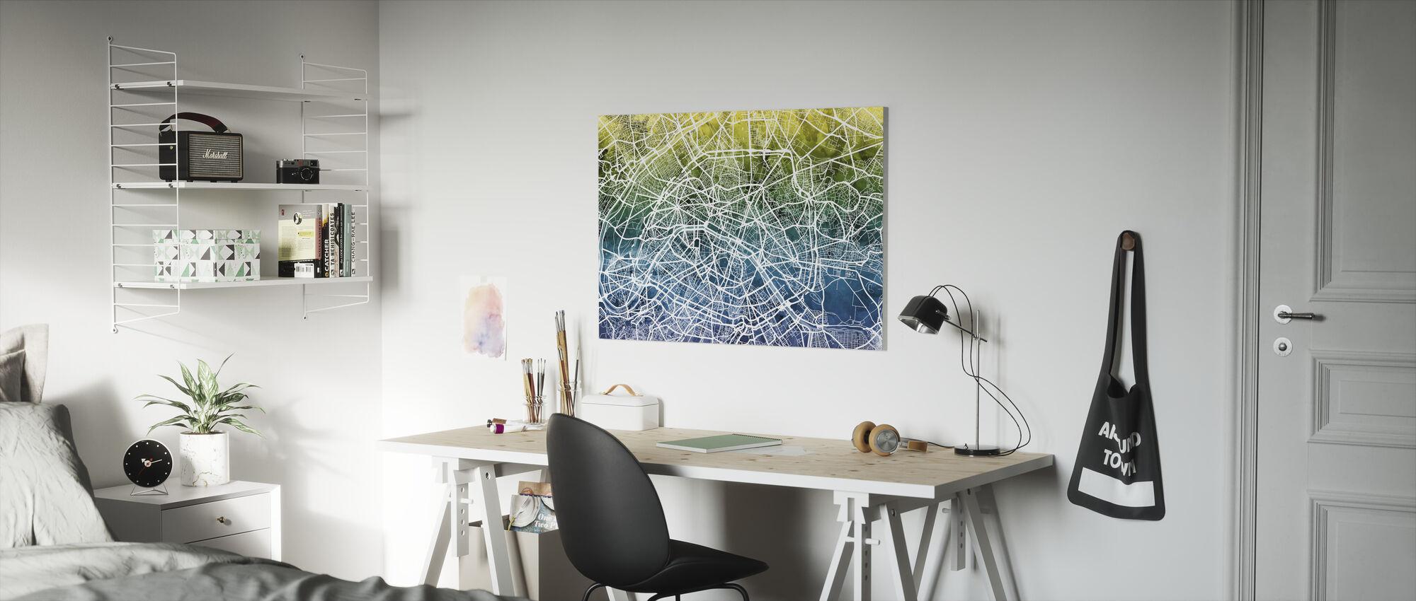Paris Street Map Bluegreen - Canvas print - Kids Room