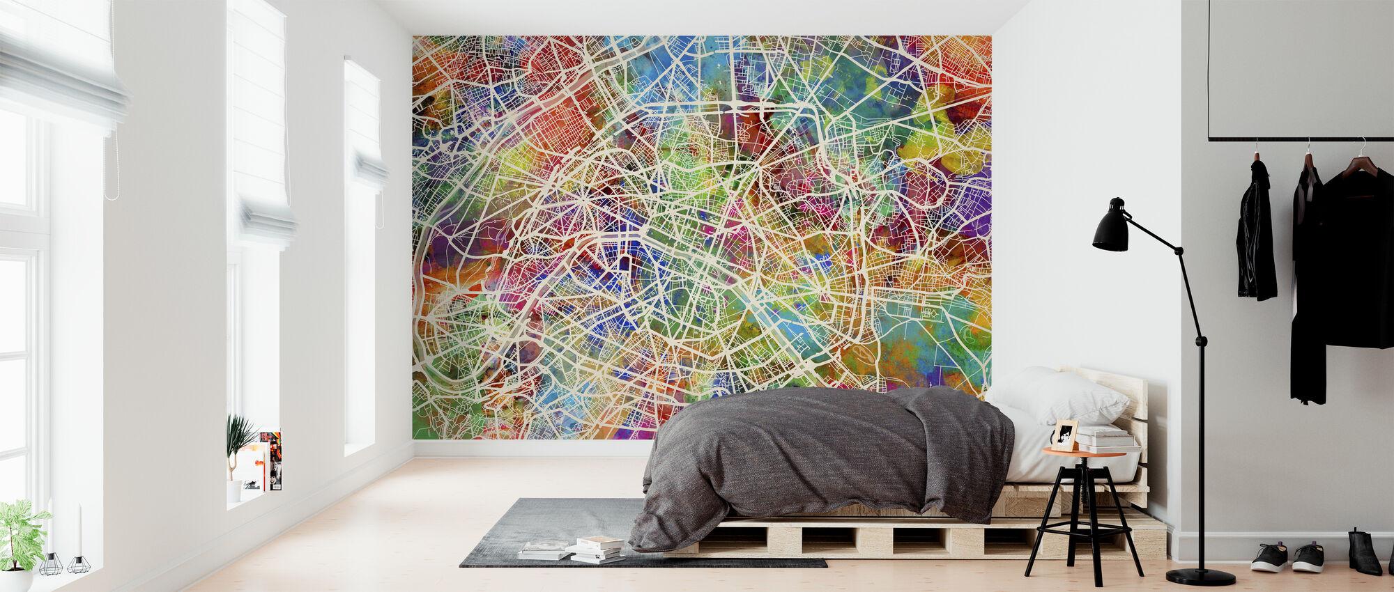 Paris Street Map Multicolour - Wallpaper - Bedroom