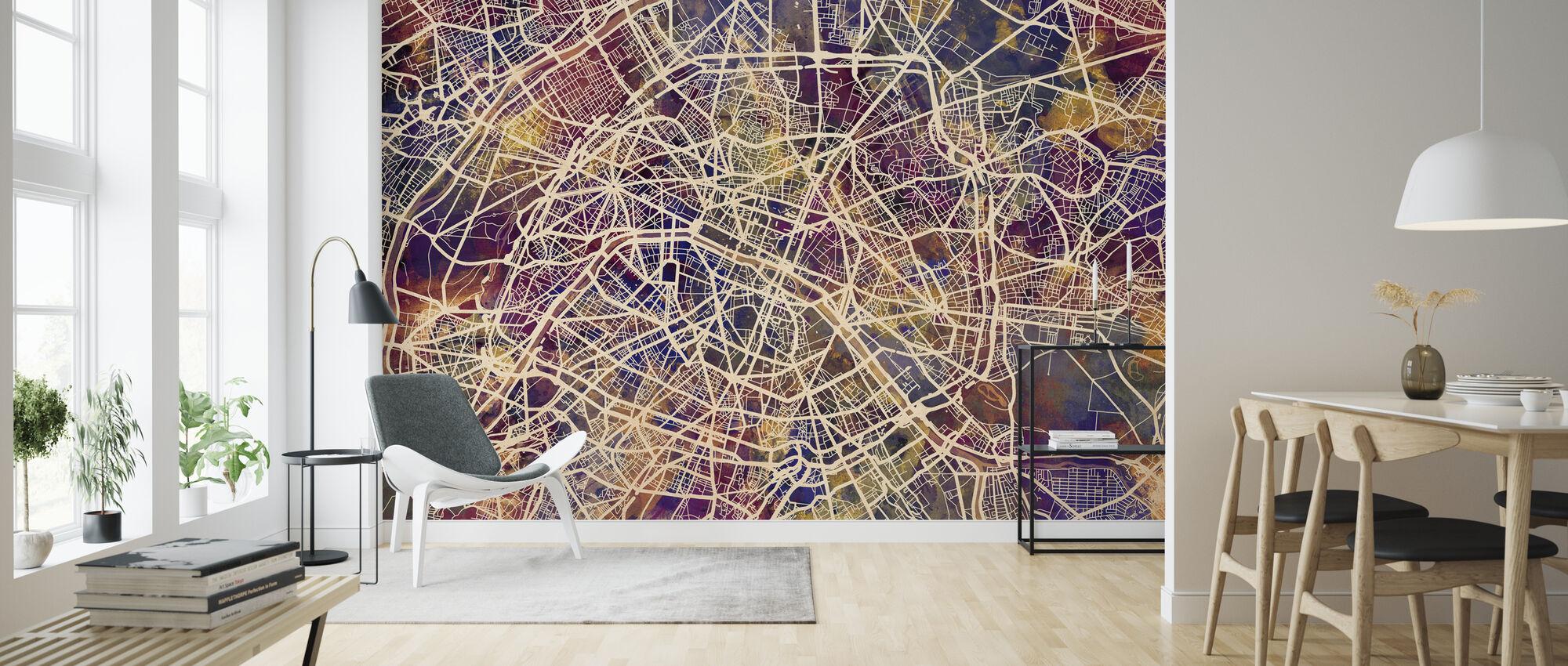 Pariisi Street Kartta violetti - Tapetti - Olohuone