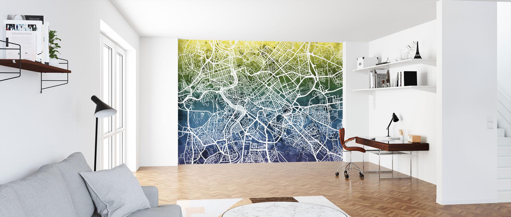 Roma Street Map Bluegreen - Tapet - Kontor