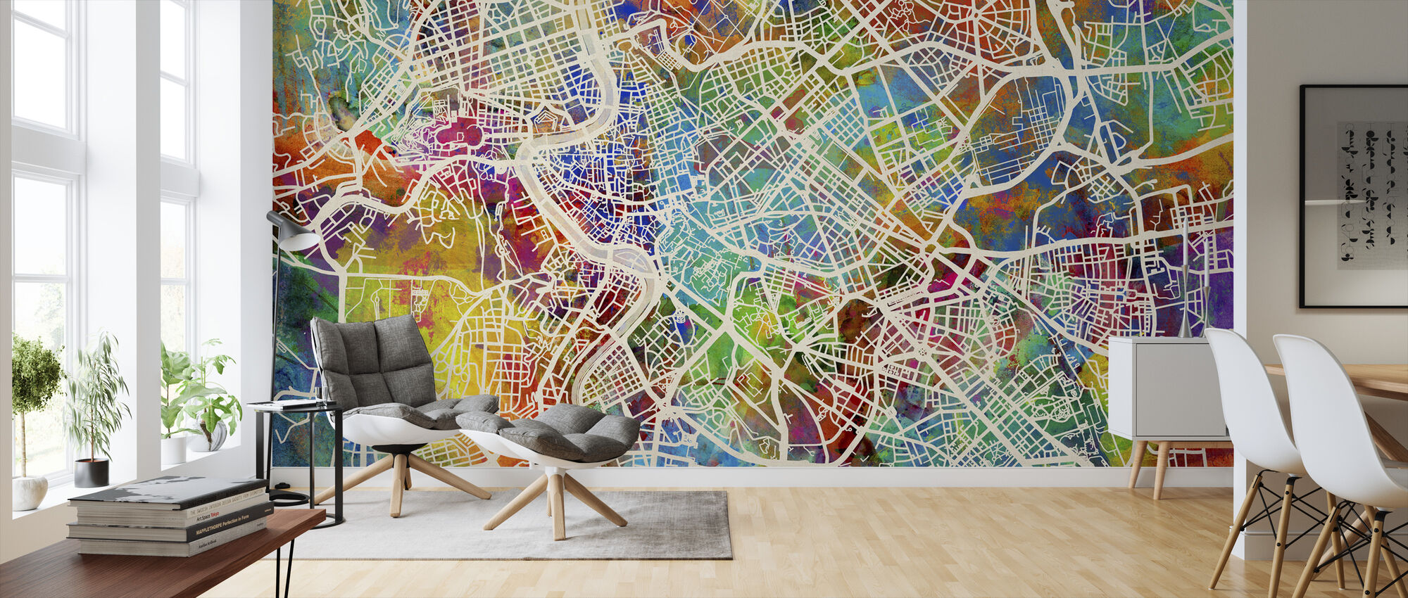 Rome Street Map Multicolour - Wallpaper - Living Room