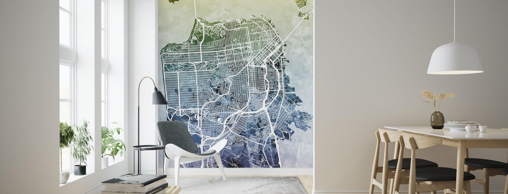 San Fransisco Street Map Bluegreen - Tapet - Stue