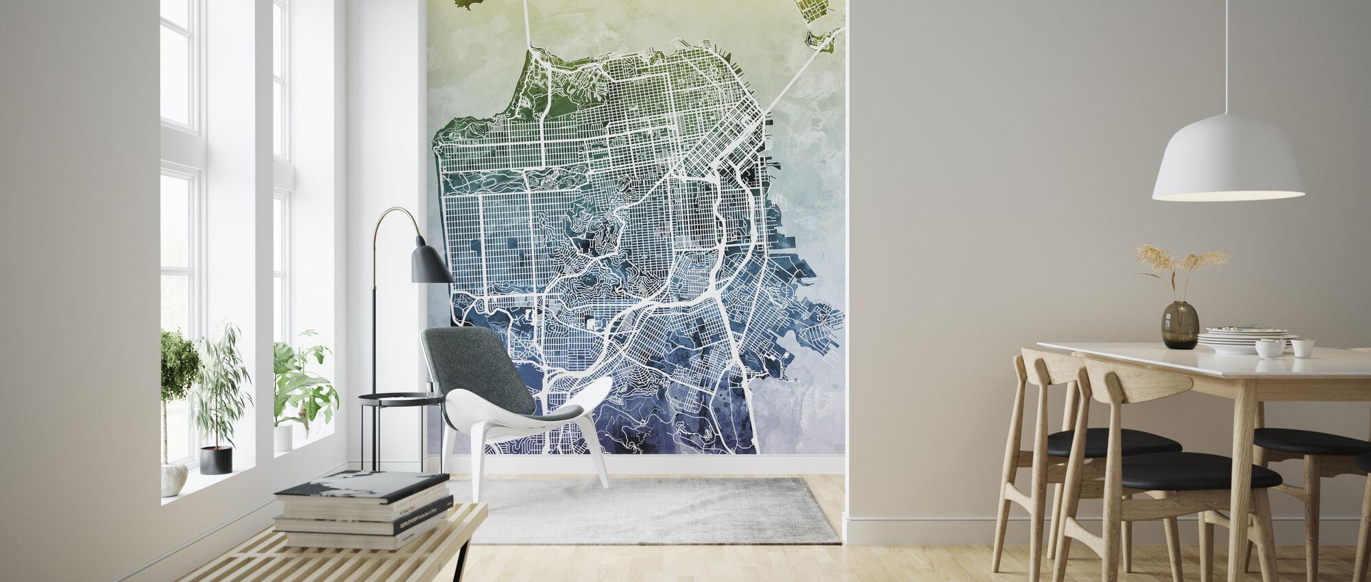 San Fransisco Street Map Bluegreen - Wallpaper - Living Room