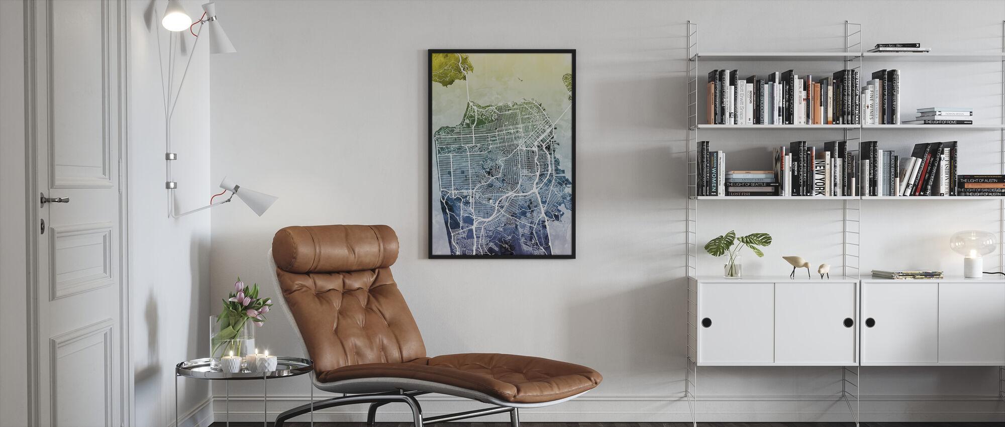 San Fransisco Street Map Bluegreen - Framed print - Living Room
