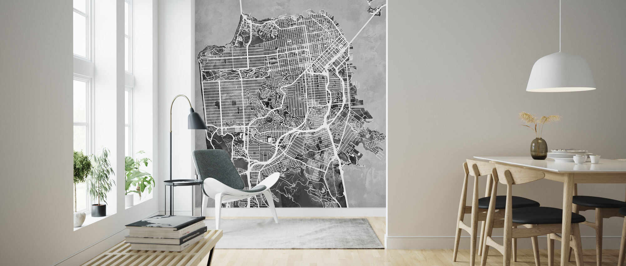 San Fransisco Street Map B/W - Wallpaper - Living Room