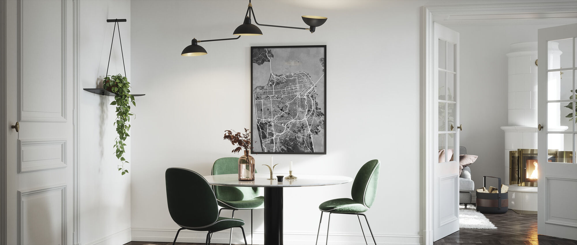 San Fransisco Street Map B/W - Framed print - Kitchen