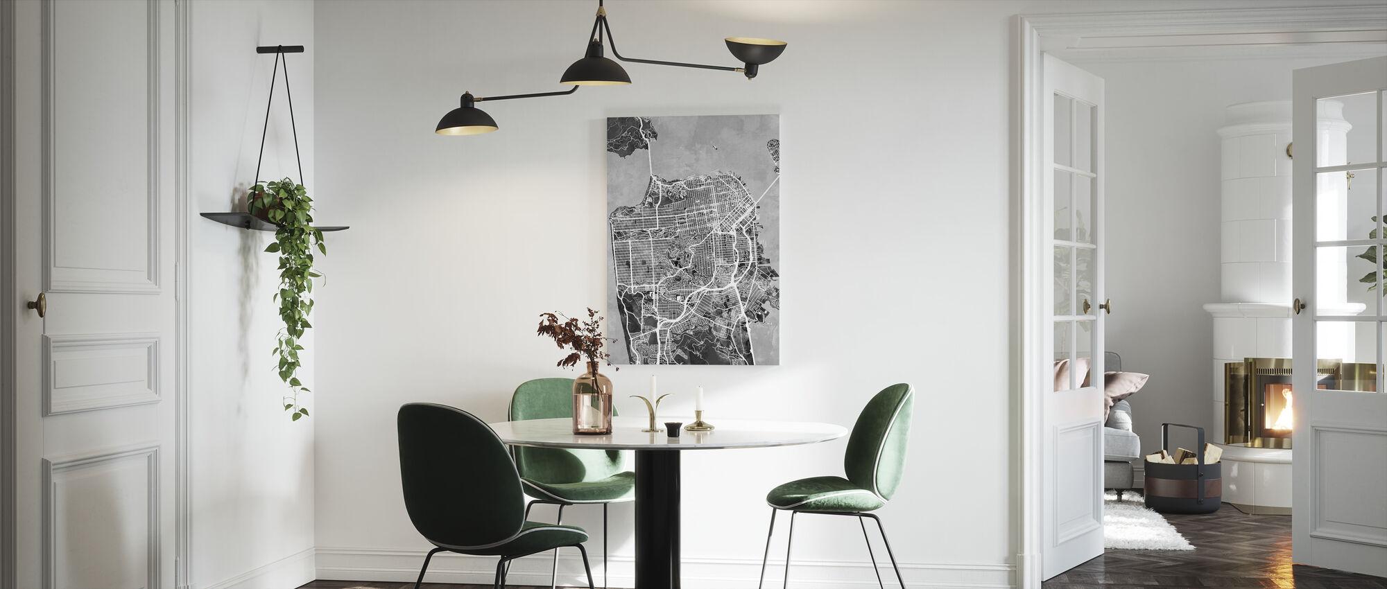 San Fransisco Street Map B/W - Canvas print - Kitchen