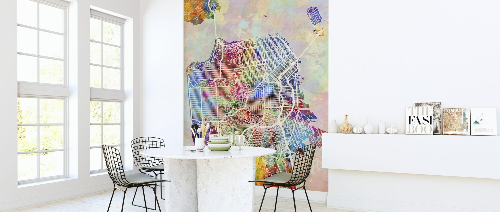 San Fransisco Street Map Multicolour - Wallpaper - Kitchen