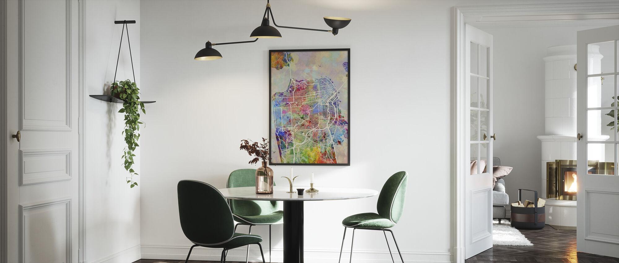 San Fransisco Street Map Multicolour - Framed print - Kitchen