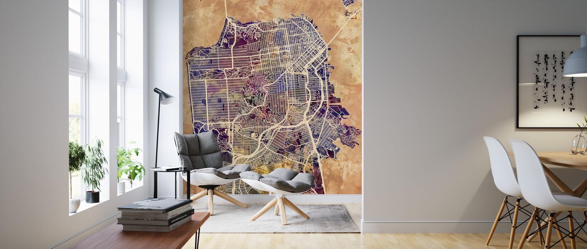 San Fransisco Street Kaart Purple - Behang - Woonkamer