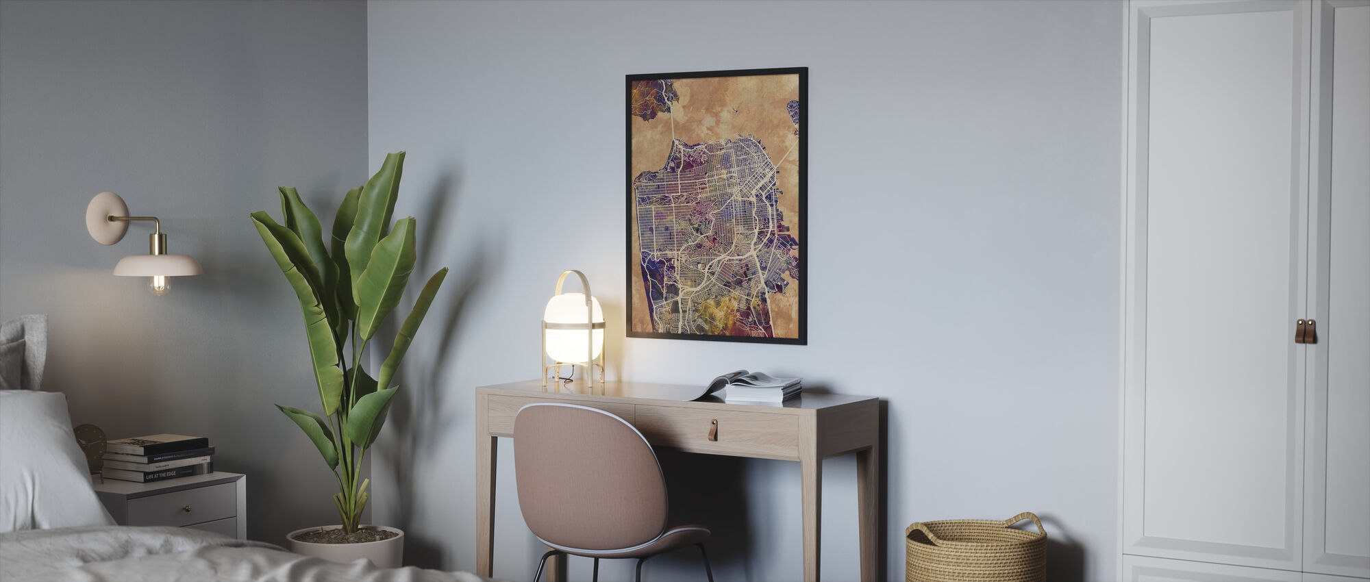 San Fransisco Street Map Purple - Framed print - Bedroom