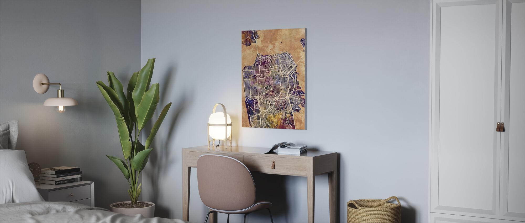 San Fransisco Street Map Purple - Canvas print - Office