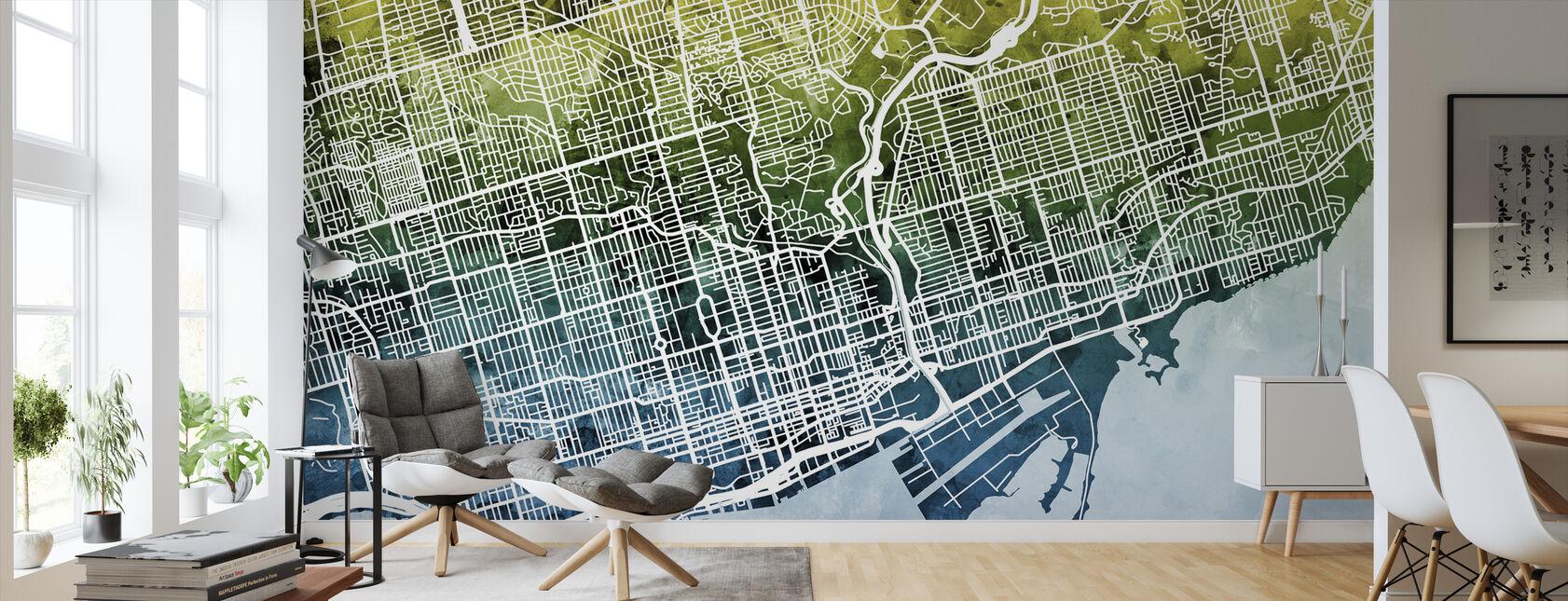 Toronto Street Kartta Bluegreen - Tapetti - Olohuone