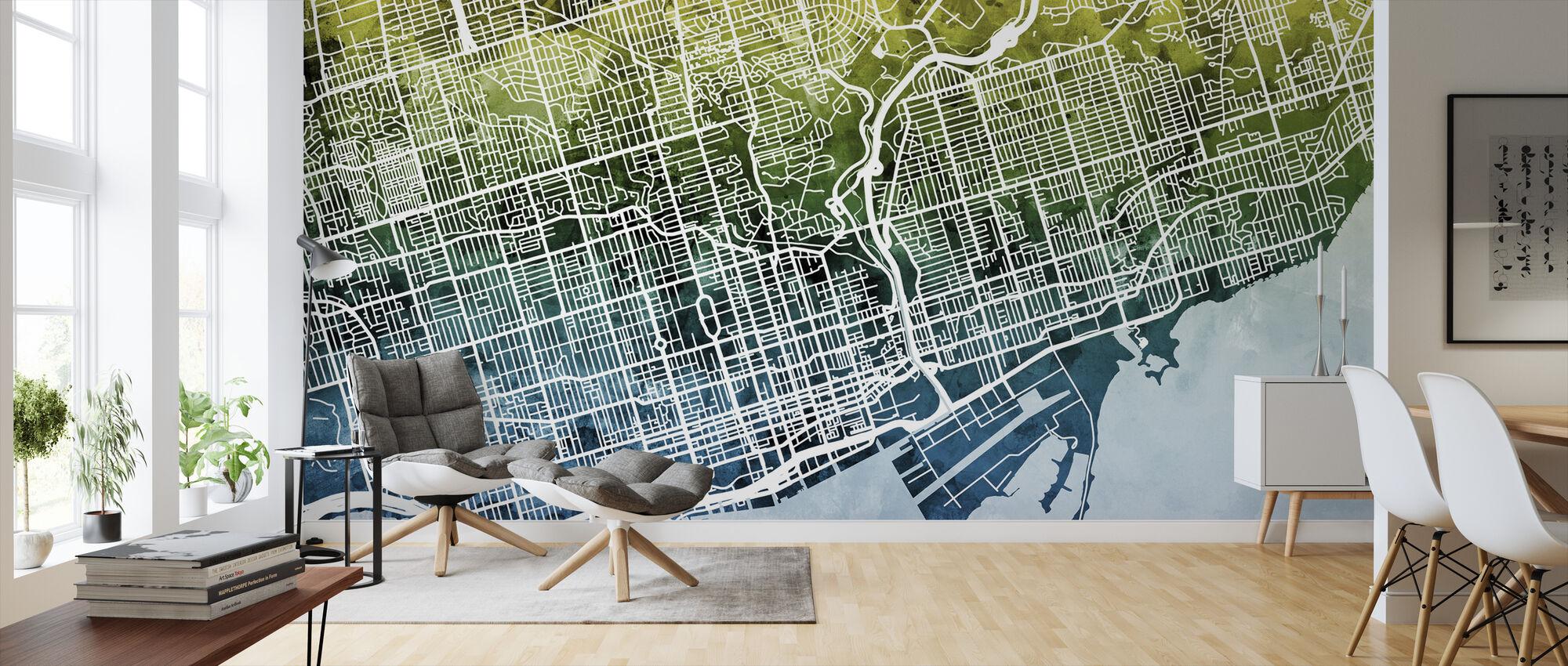 Toronto Street Karta Bluegreen - Tapet - Vardagsrum