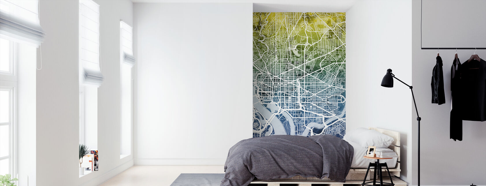 Washington DC Street Map Bluegreen - Tapet - Soverom