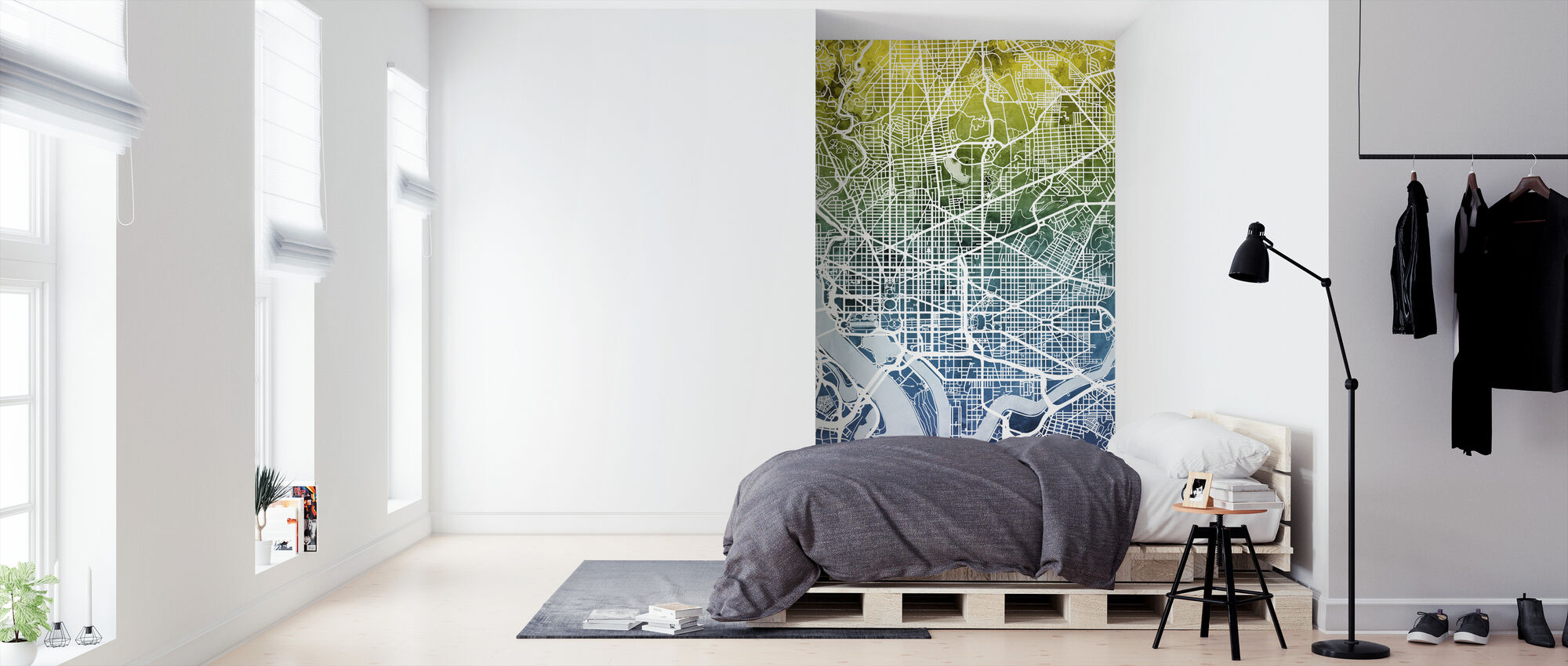 Washington DC Street Map Bluegreen - Wallpaper - Bedroom