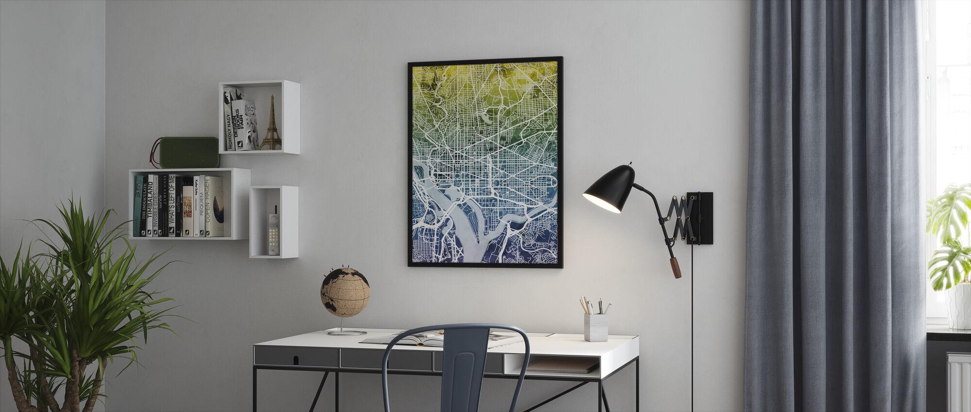 Washington DC Street Map Bluegreen - Stampa incorniciata - Uffici