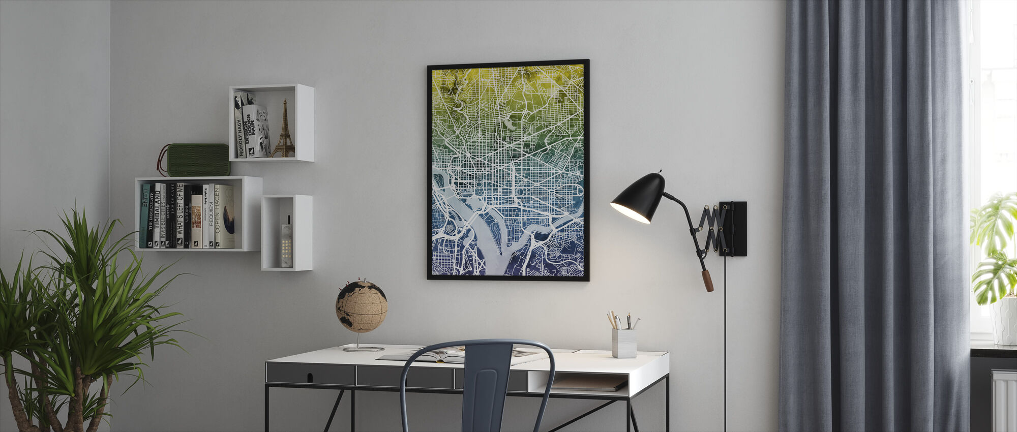 Washington DC Street Karta Bluegreen - Inramad tavla - Kontor