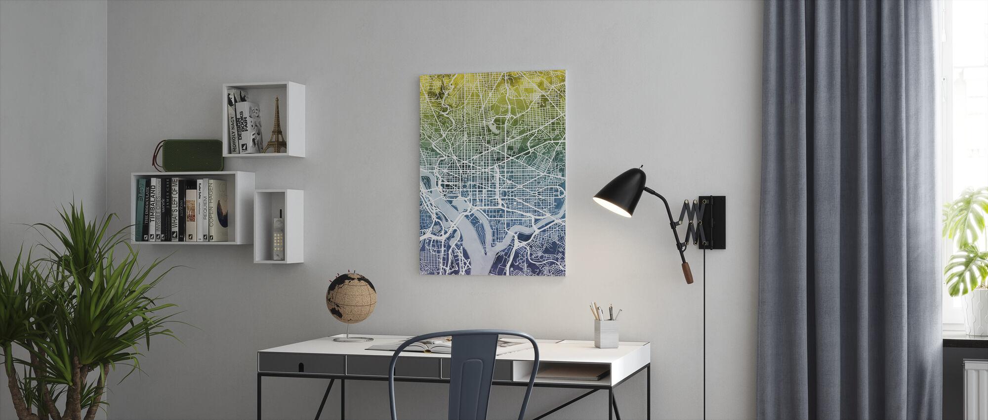 Washington DC Street Karta Bluegreen - Canvastavla - Kontor