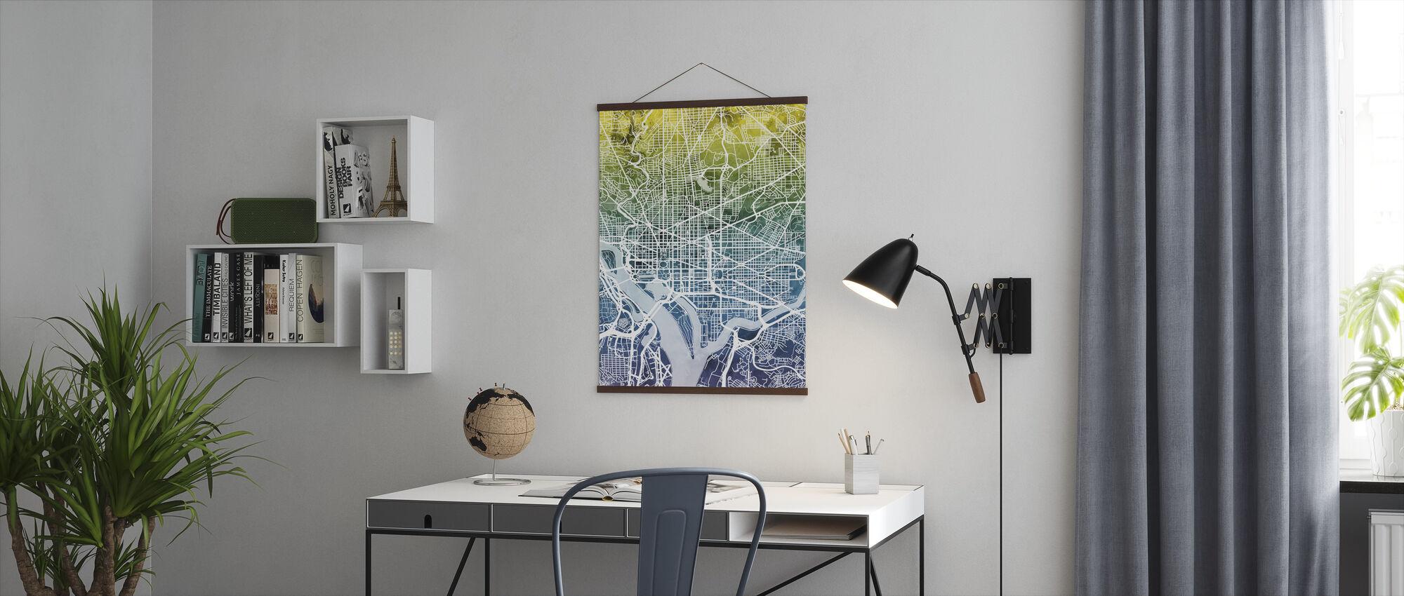 Washington DC Street Map Bluegreen - Poster - Office