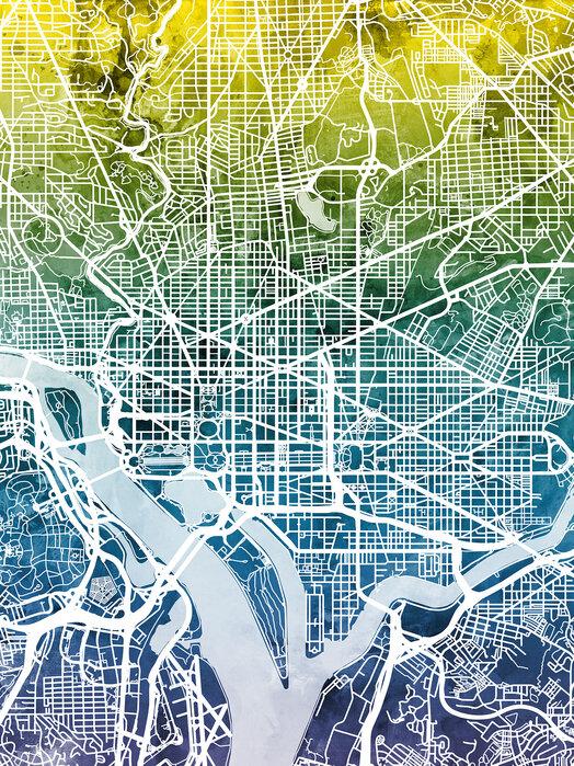 Washington DC Street Map Bluegreen – Designerbild auf Baumwollgewebe on
