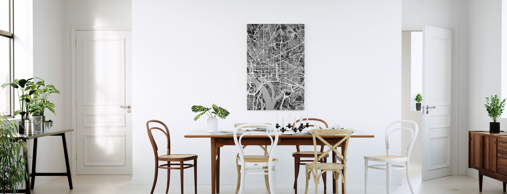 Washington DC Street Map B/W - Canvas print - Kitchen
