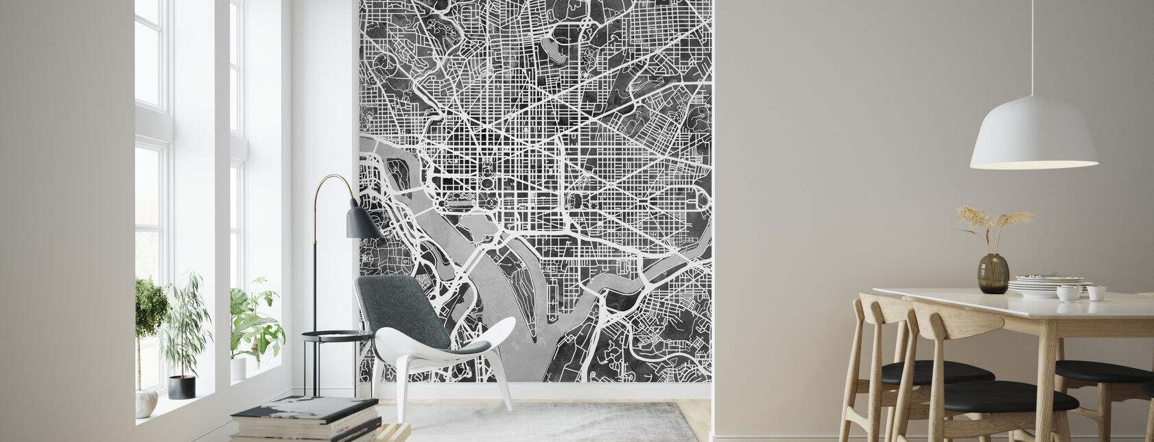 Washington DC Street Map B/W - Wallpaper - Living Room