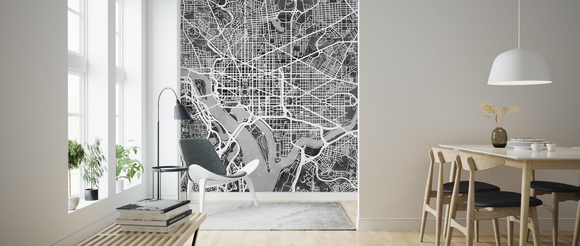 Washington DC Street Karta B/W - Tapet - Vardagsrum