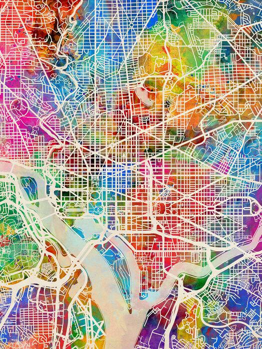 Washington DC Street Map Multicolour - Trendiges Poster ...