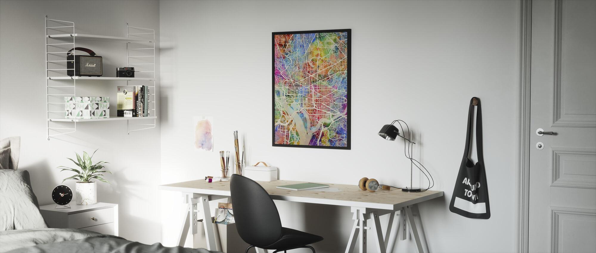 Washington DC Street Karta Multicolour - Inramad tavla - Barnrum
