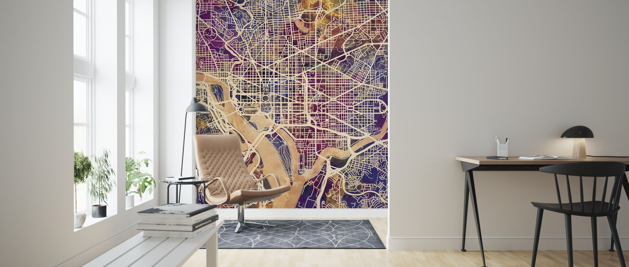 Washington DC Street Map Purple - Wallpaper - Living Room