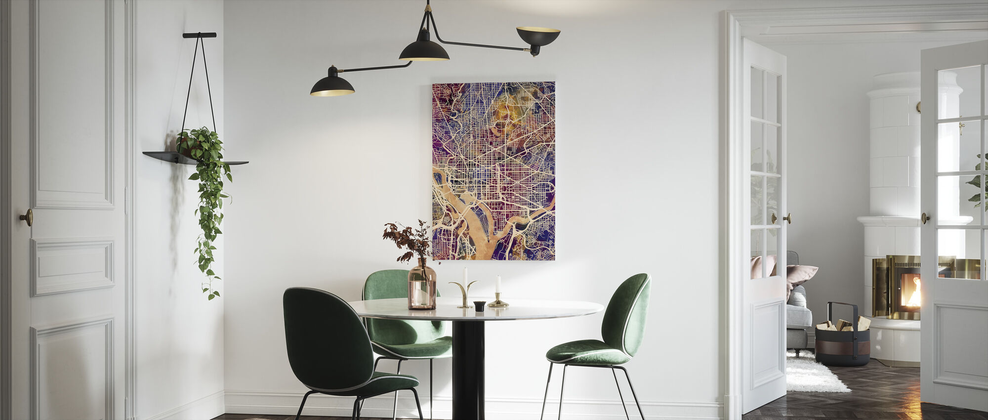 Washington DC Street Map Purple - Canvas print - Kitchen