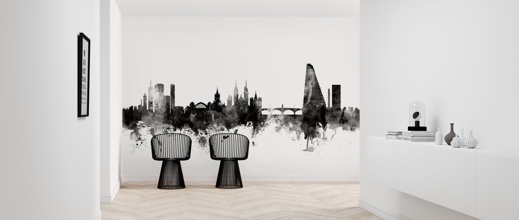 Basel Skyline Black - Wallpaper - Hallway
