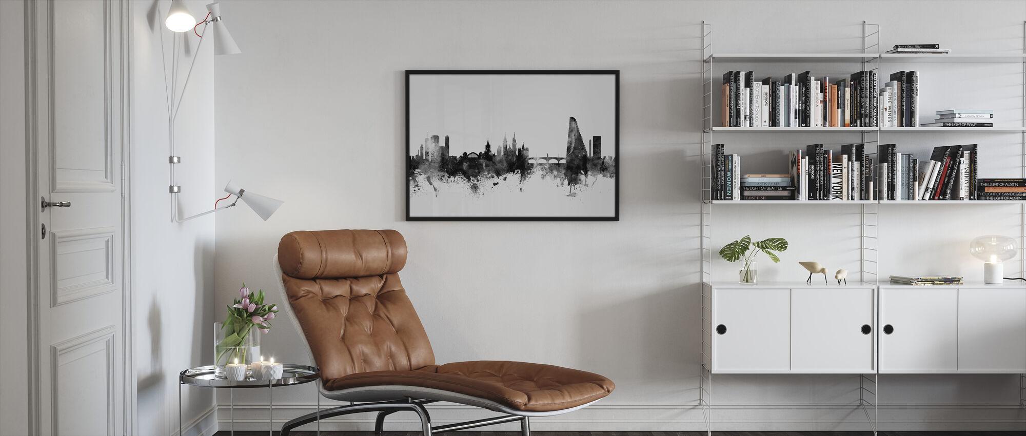 Basel Skyline Black - Framed print - Living Room