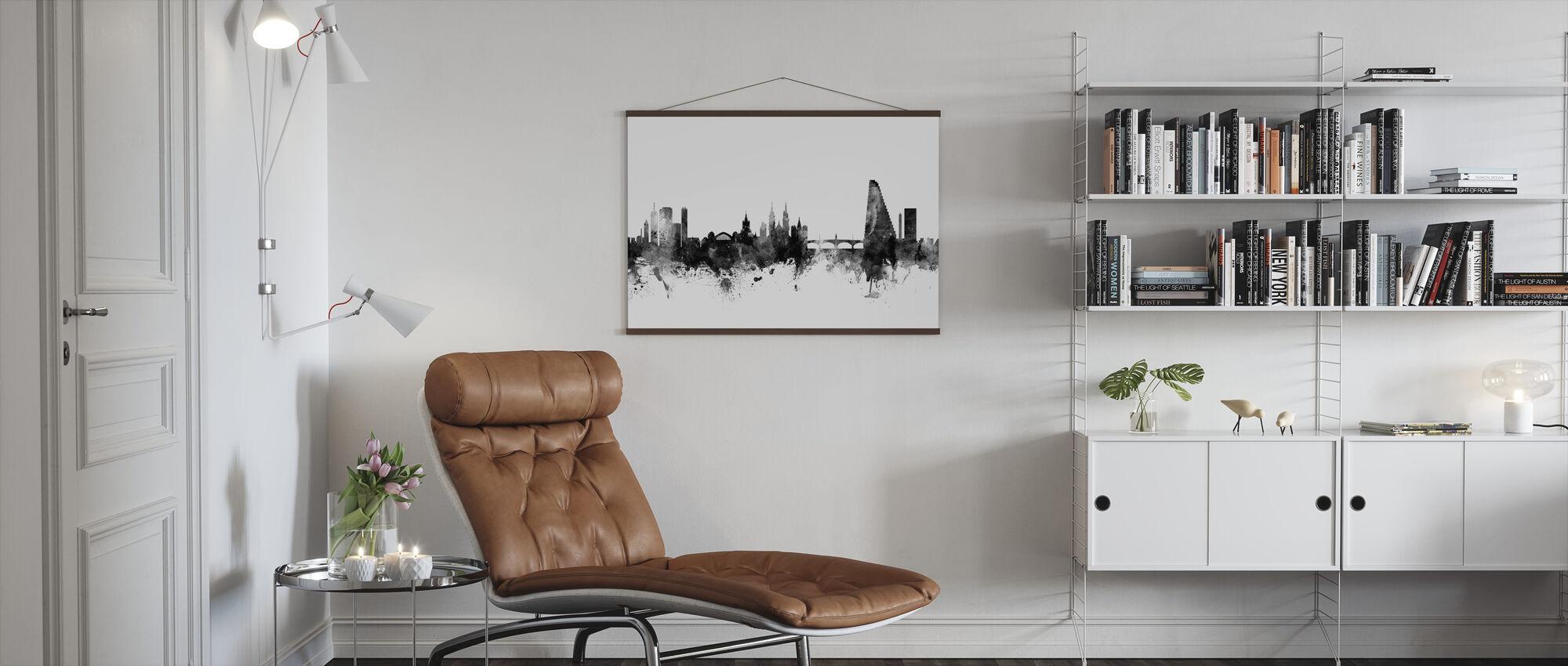 Basel Skyline Zwart - Poster - Woonkamer