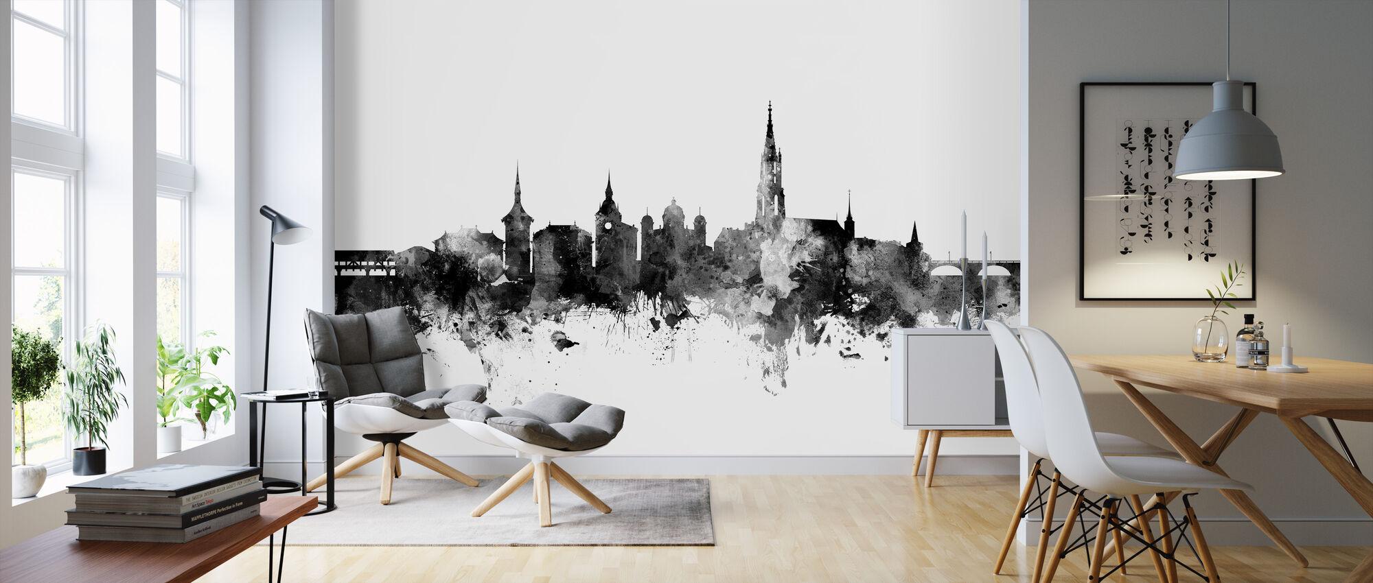 Bern Skyline Black - Wallpaper - Living Room